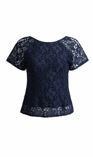 Sapphire Japanese lace top in midnight blue  - product shot