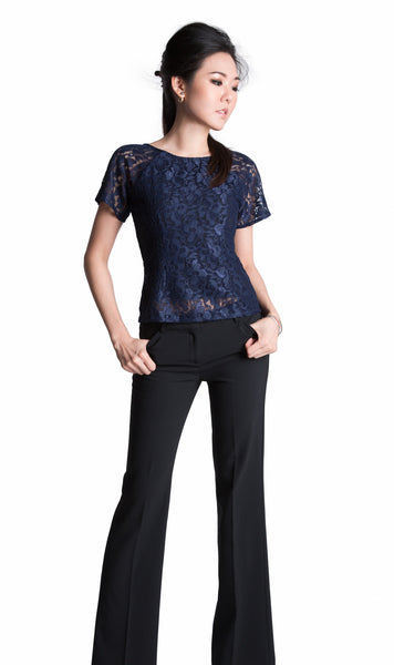 Sapphire Japanese lace top in midnight blue  - front