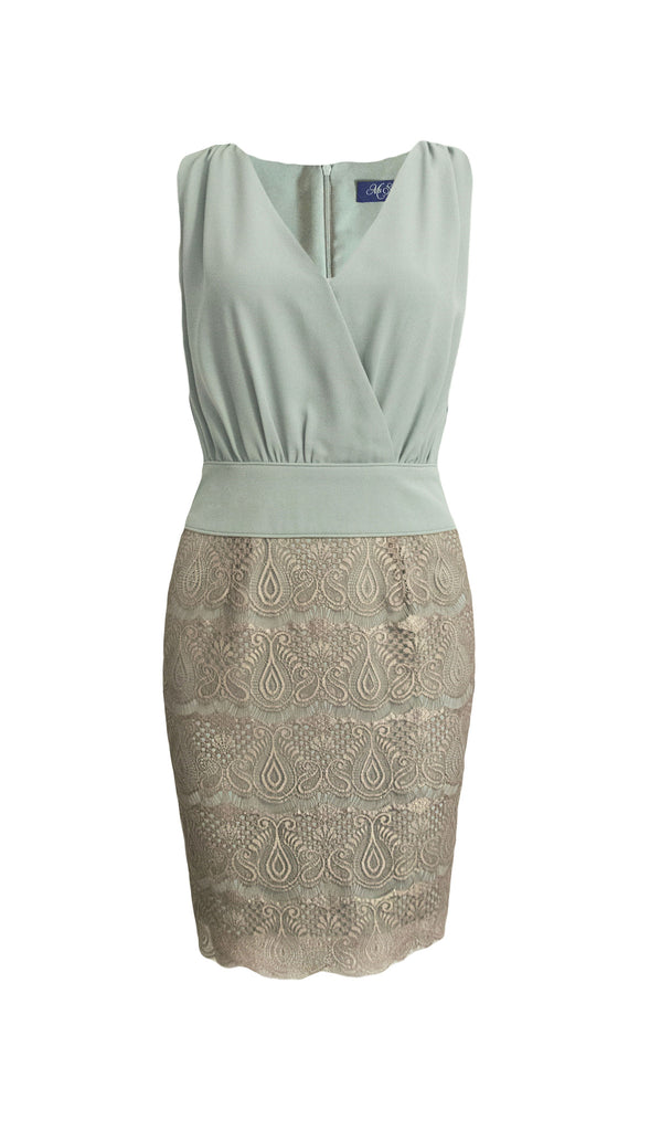 Vera faux-wrap metallic lace dress - product shot