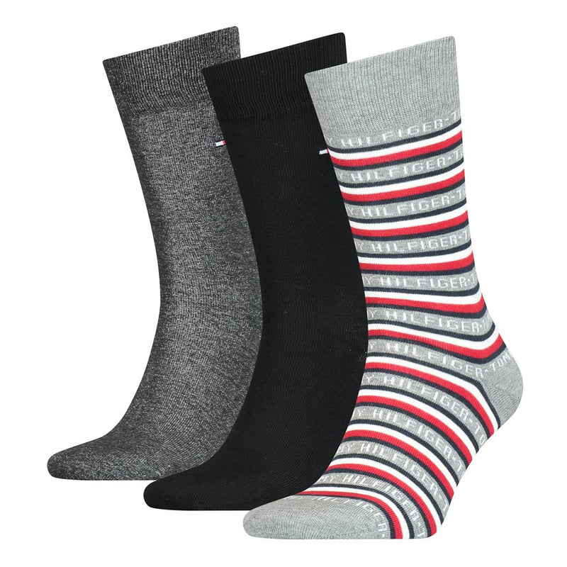 Tommy Hilfiger Men's Logo Socks in a Gift Box (3-Pack), 01, 100000844, #colour_Black