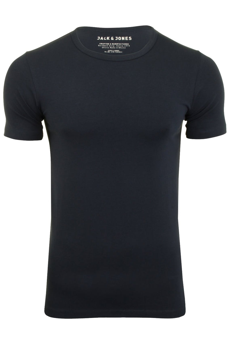 Jack & Jones Mens S/S Crew Neck T-Shirt - Slim Fit, 01, 12058529, #colour_Navy Blue