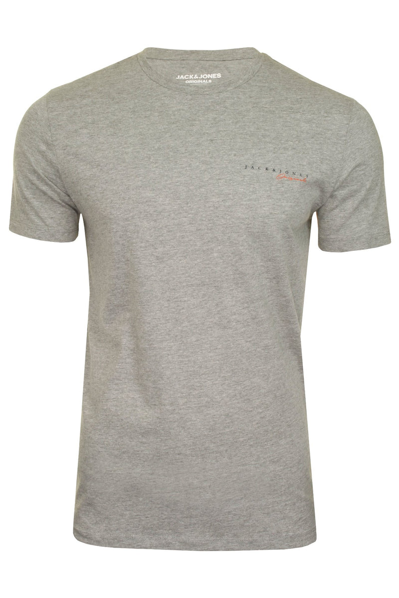 Mens Jack & Jones 'CLAYTON' T-Shirt, 01, 12177506, #colour_Light Grey Melange