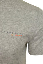 Mens Jack & Jones 'CLAYTON' T-Shirt, 02, 12177506, #colour_Light Grey Melange