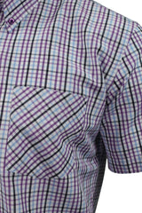 Xact Mens Check Shirt Short Sleeves-2