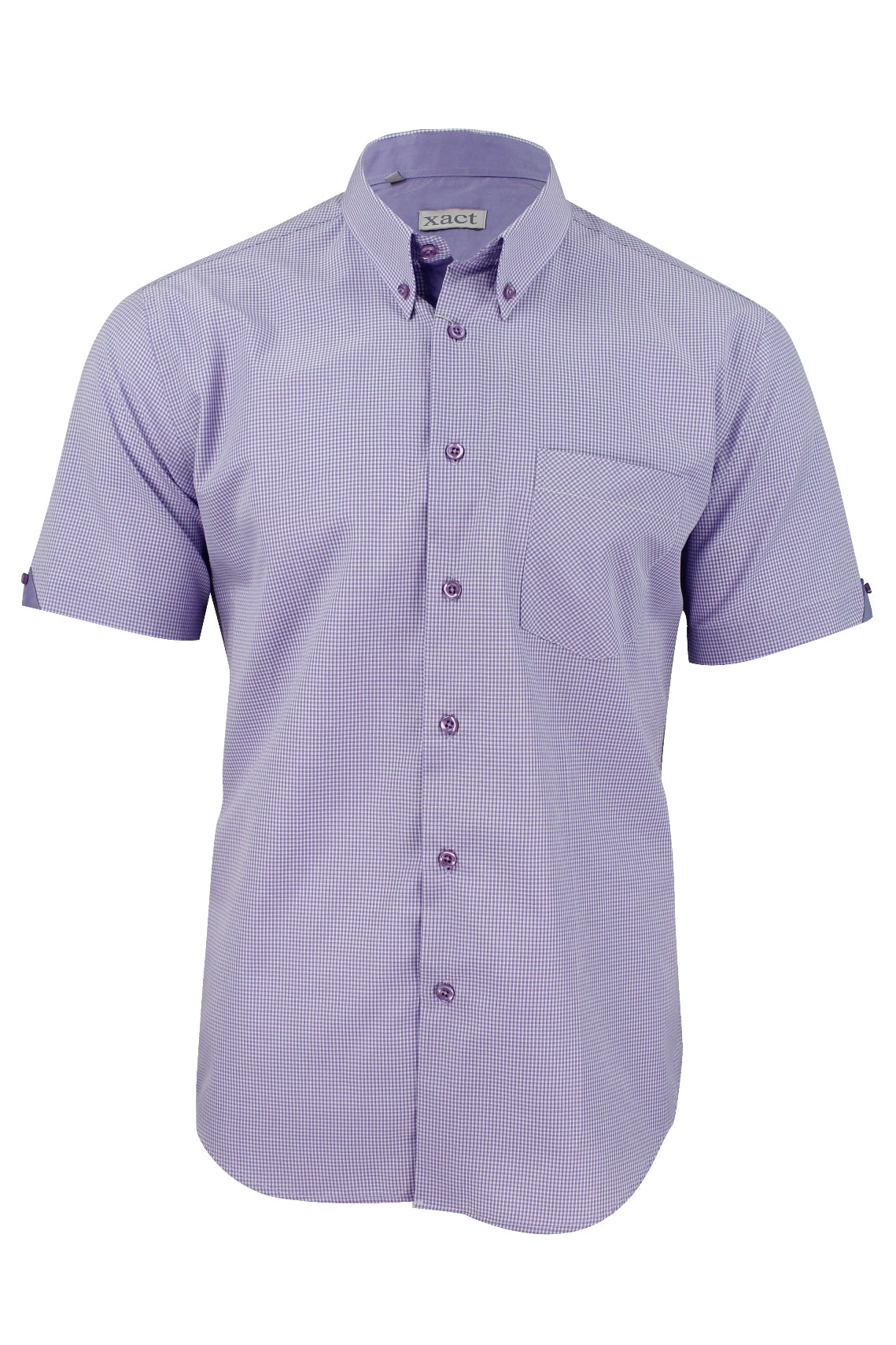 Mens Short Sleeved Shirt by Xact Clothing Micro Gingham Check_01_1510114_Lilac