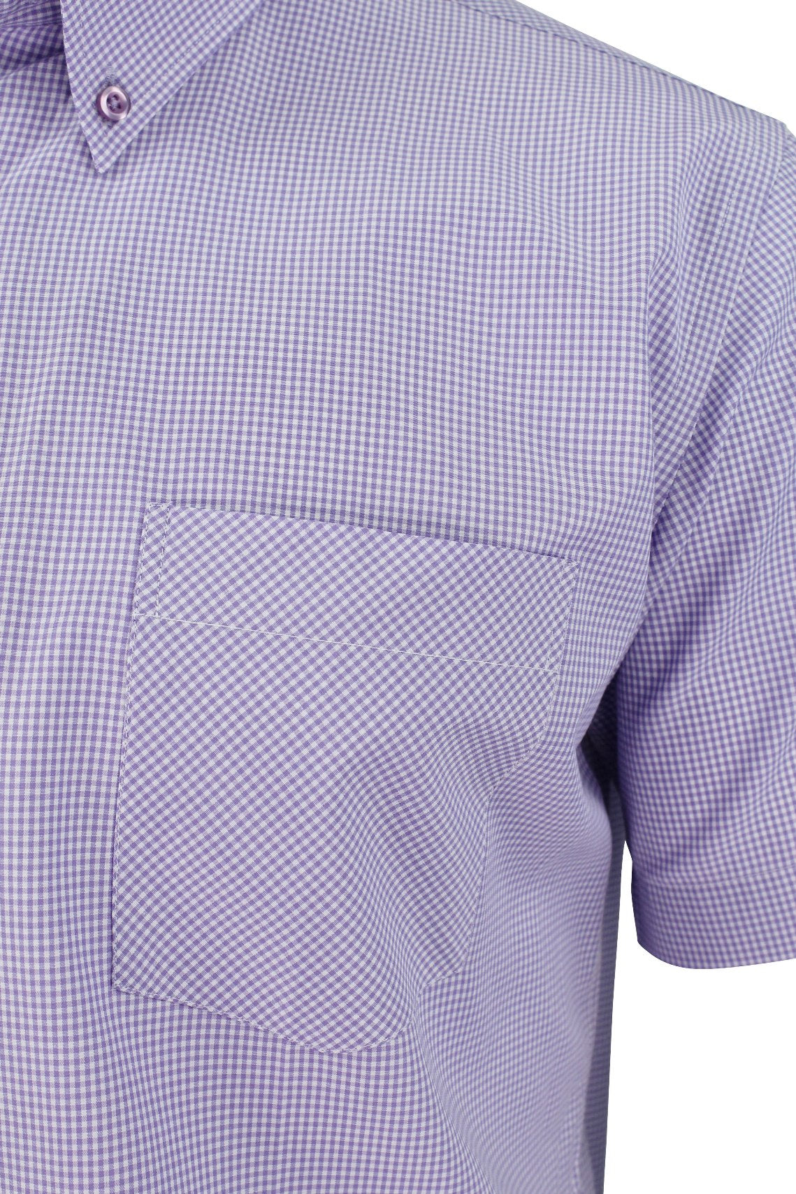 Mens Short Sleeved Shirt by Xact Clothing Micro Gingham Check_02_1510114_Lilac