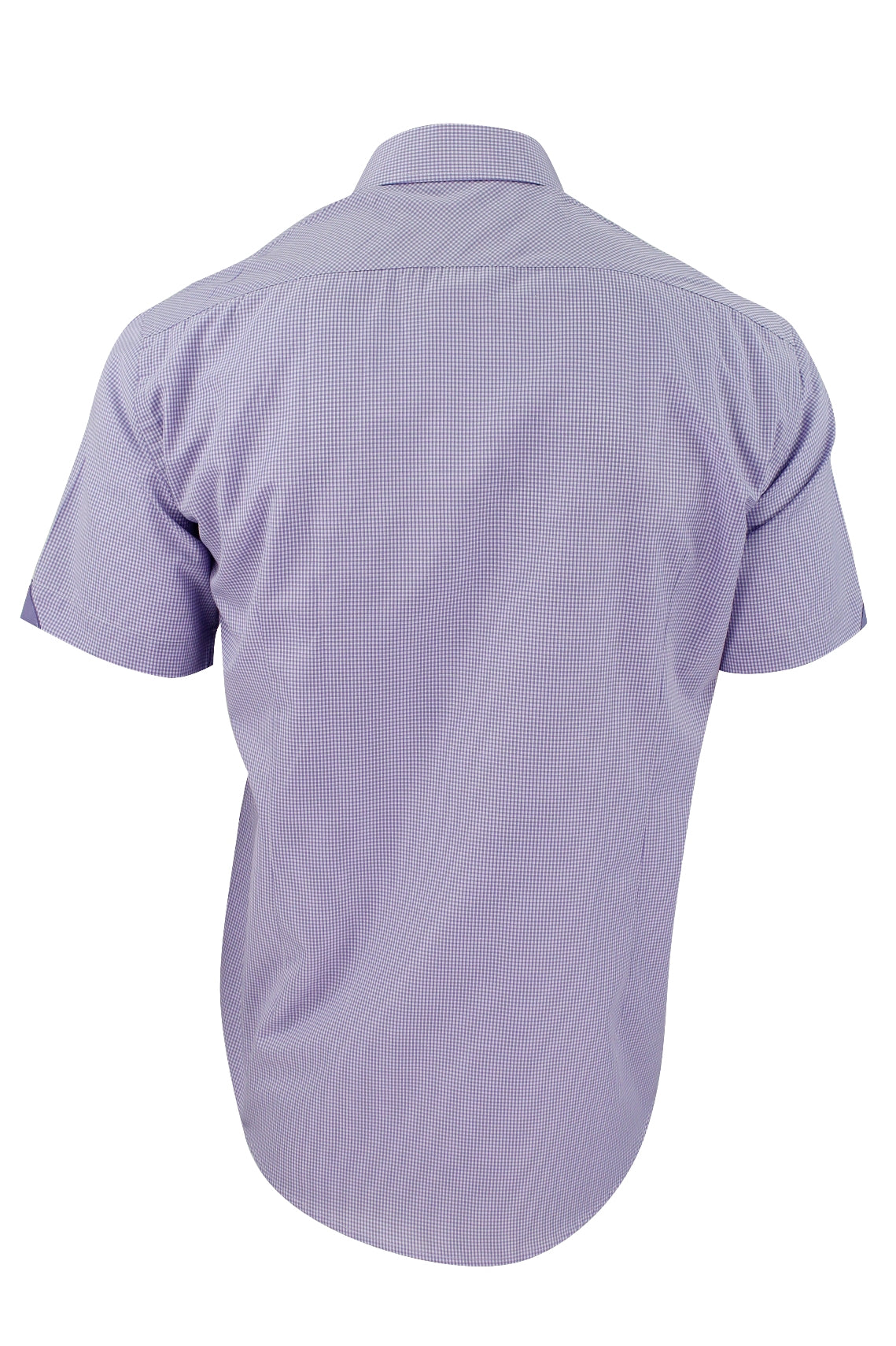 Mens Short Sleeved Shirt by Xact Clothing Micro Gingham Check_03_1510114_Lilac