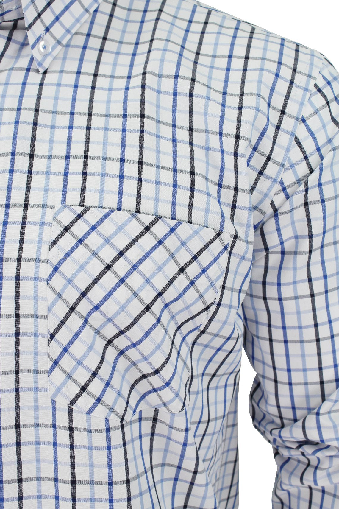 Mens Long Sleeved Check Shirt by Xact Clothing_02_1510116_Blue