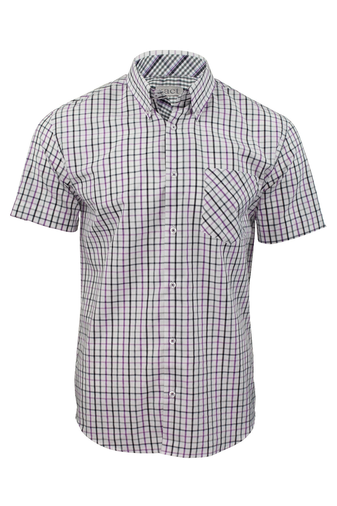 Xact Mens Check Shirt Short Sleeves-Main Image