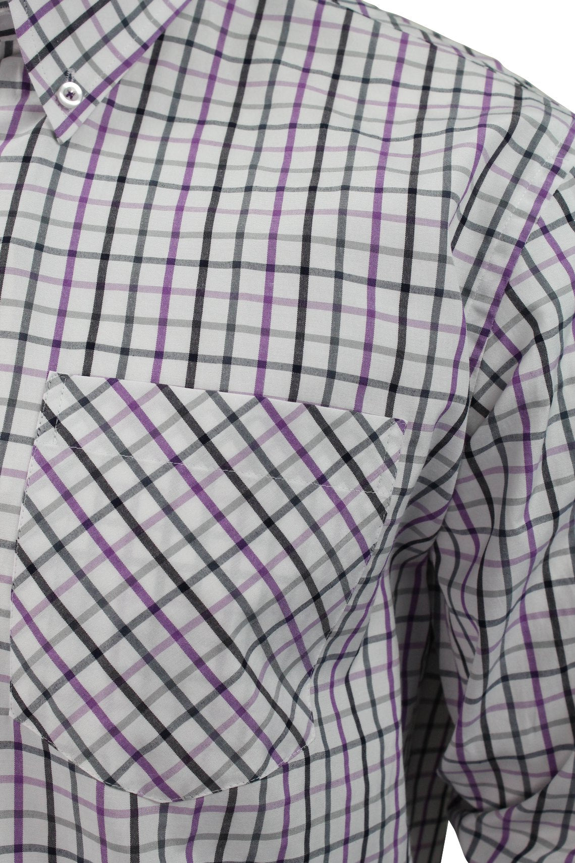 Mens Long Sleeved Check Shirt by Xact Clothing_02_1510116_Lilac