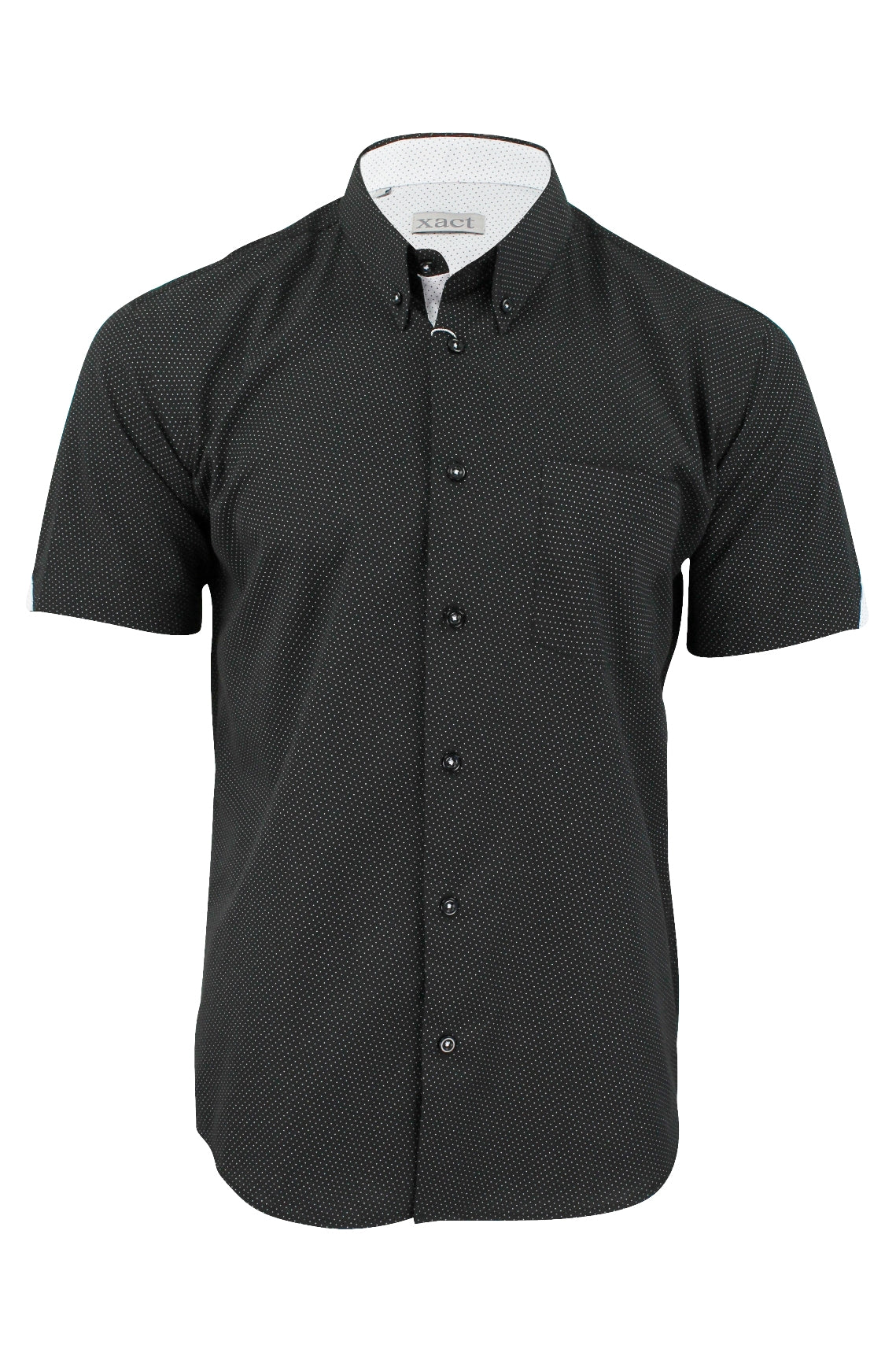 Mens Short Sleeved Shirt by Xact Clothing Mini Polka Dot-2