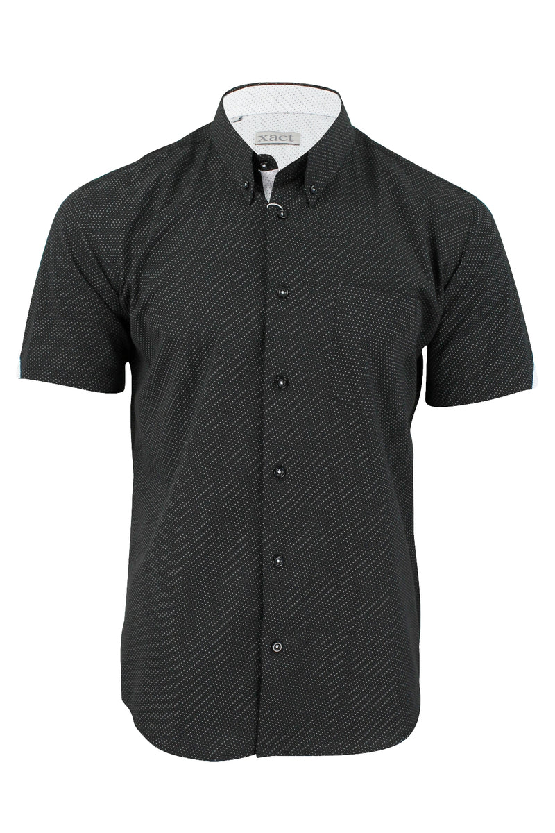 Mens Short Sleeved Shirt by Xact Clothing Mini Polka Dot, 01, 1510120, #colour_Black