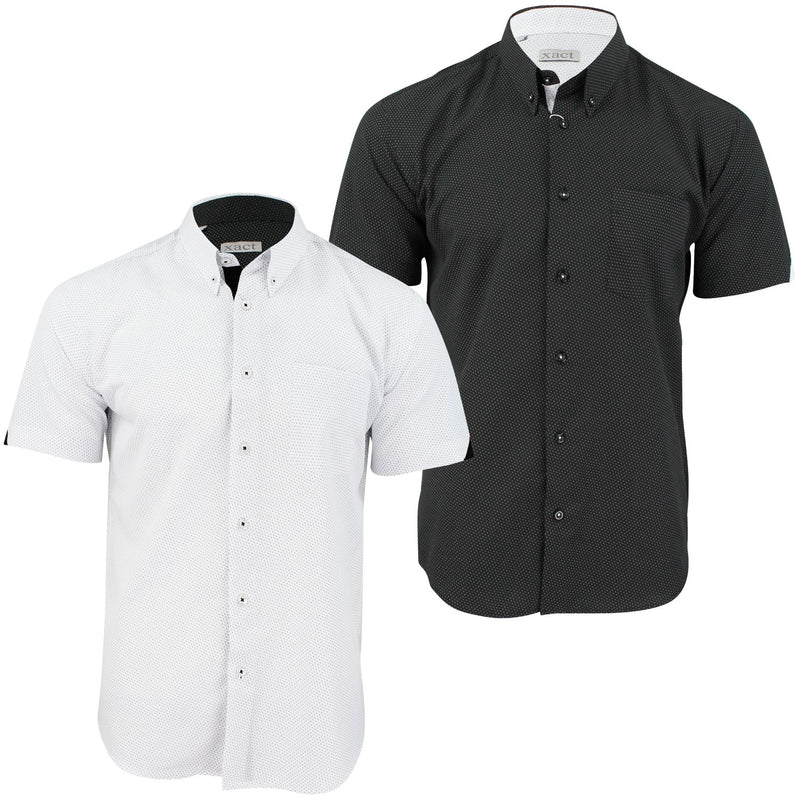 Mens Short Sleeved Shirt by Xact Clothing Mini Polka Dot, 01, 1510120