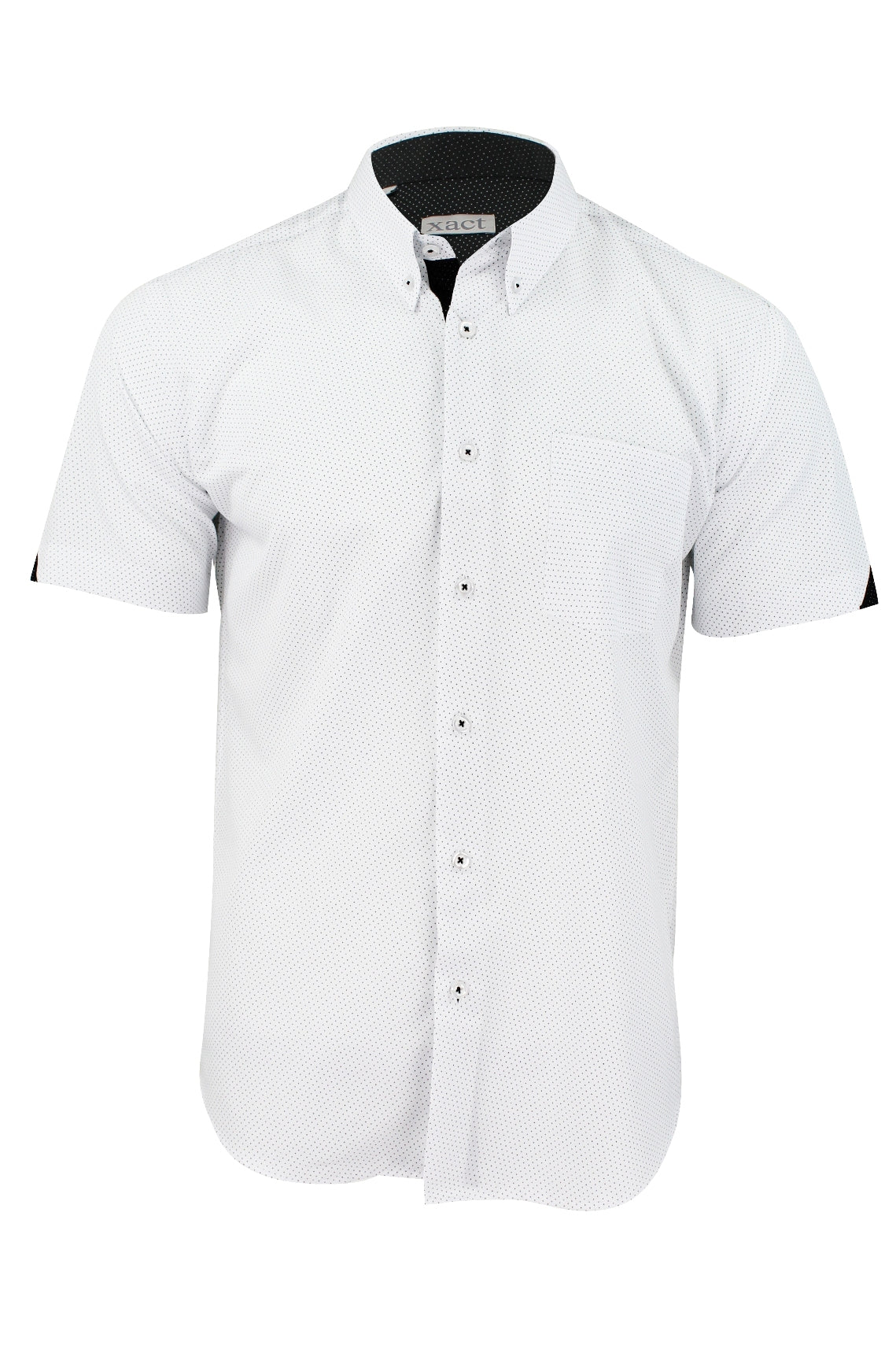 Mens Short Sleeved Shirt by Xact Clothing Mini Polka Dot-Main Image