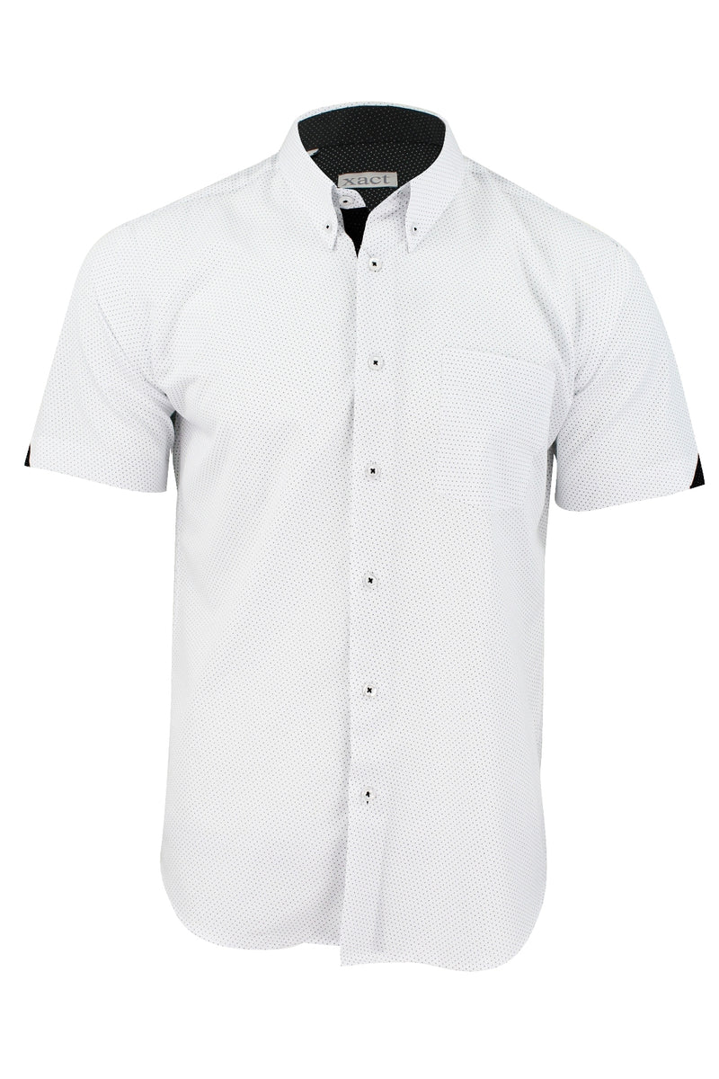 Mens Short Sleeved Shirt by Xact Clothing Mini Polka Dot, 01, 1510120, #colour_White