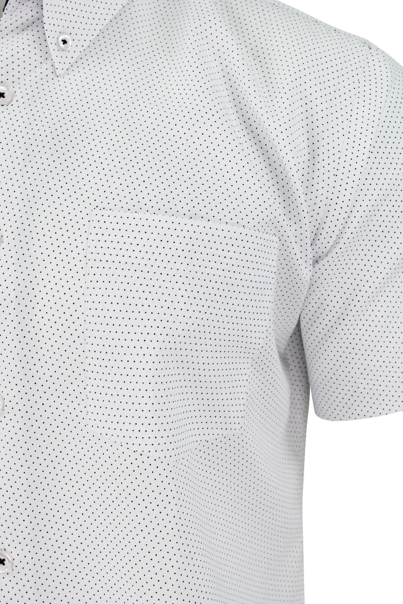 Mens Short Sleeved Shirt by Xact Clothing Mini Polka Dot, 02, 1510120, #colour_White