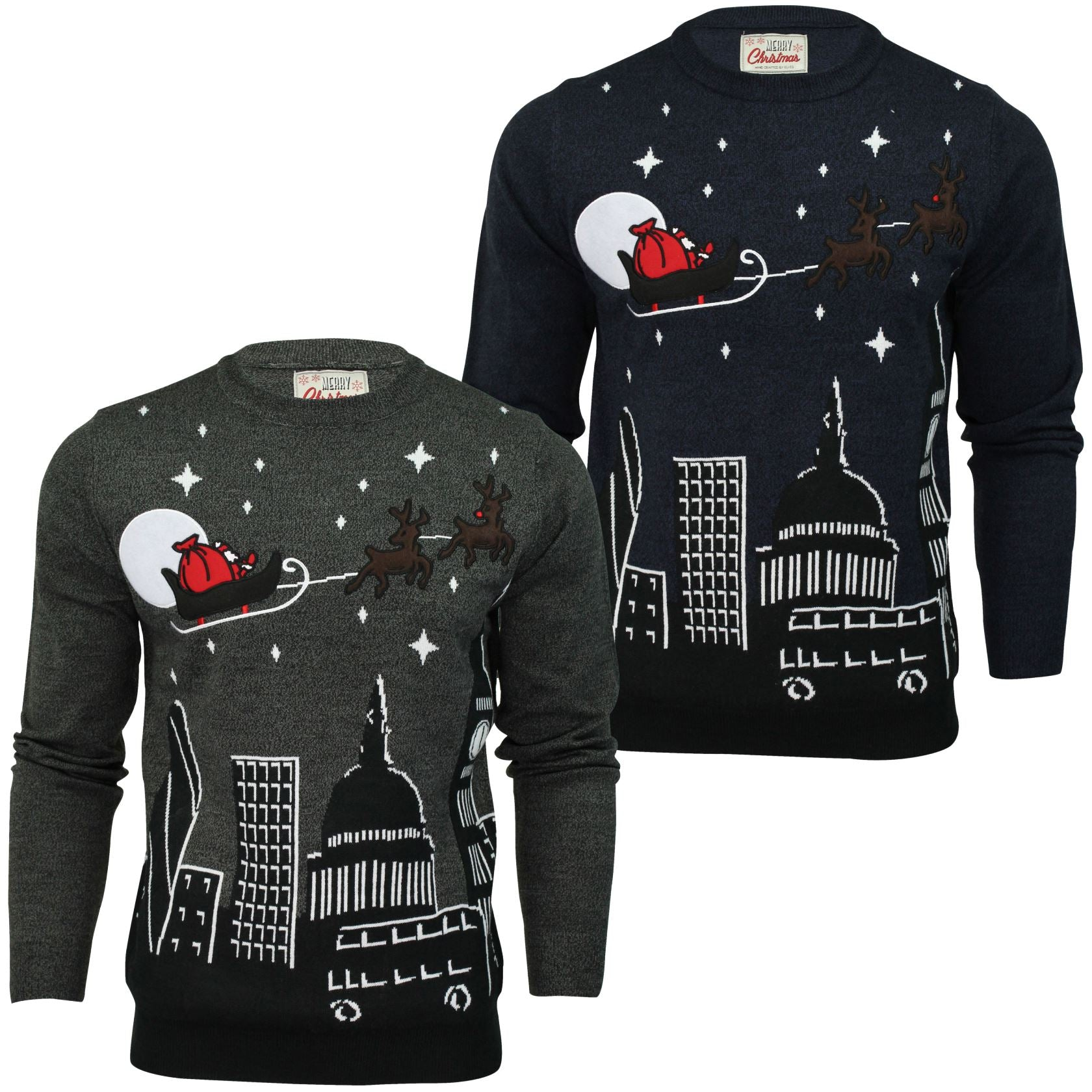 Mens Christmas/ Xmas Jumper 'Night Sky' Santa Sleigh Over London-Main Image