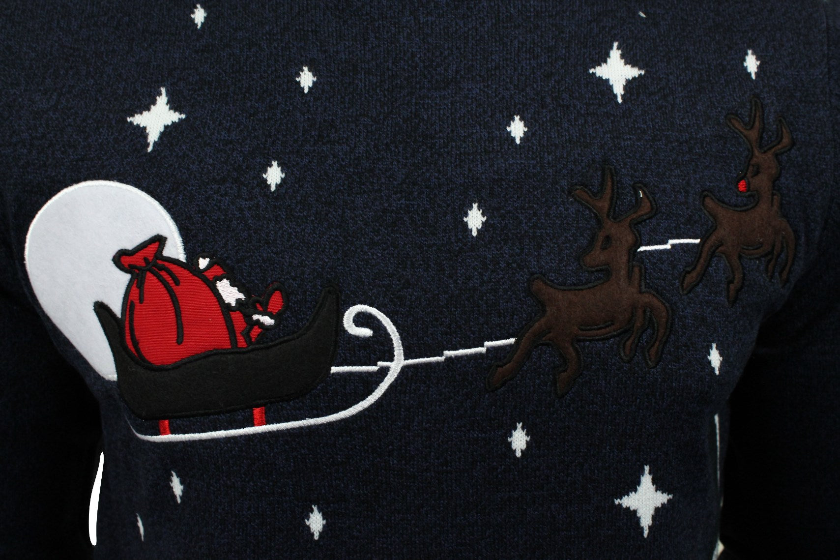 Mens Christmas/ Xmas Jumper 'Night Sky' Santa Sleigh Over London-2