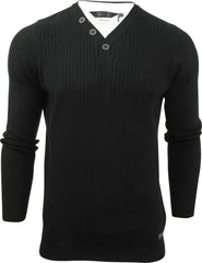 Mens Ribbed Jumper by Dissident 'Peloton' Mock T Shirt-Main Image