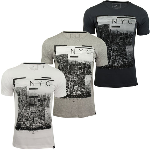 Mens New York Graphic Print T-Shirt by Dissident 'NY High'-Main Image