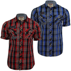 Mens Shirt by Tokyo Laundry 'Lozano' Checked Short Sleeved-Main Image