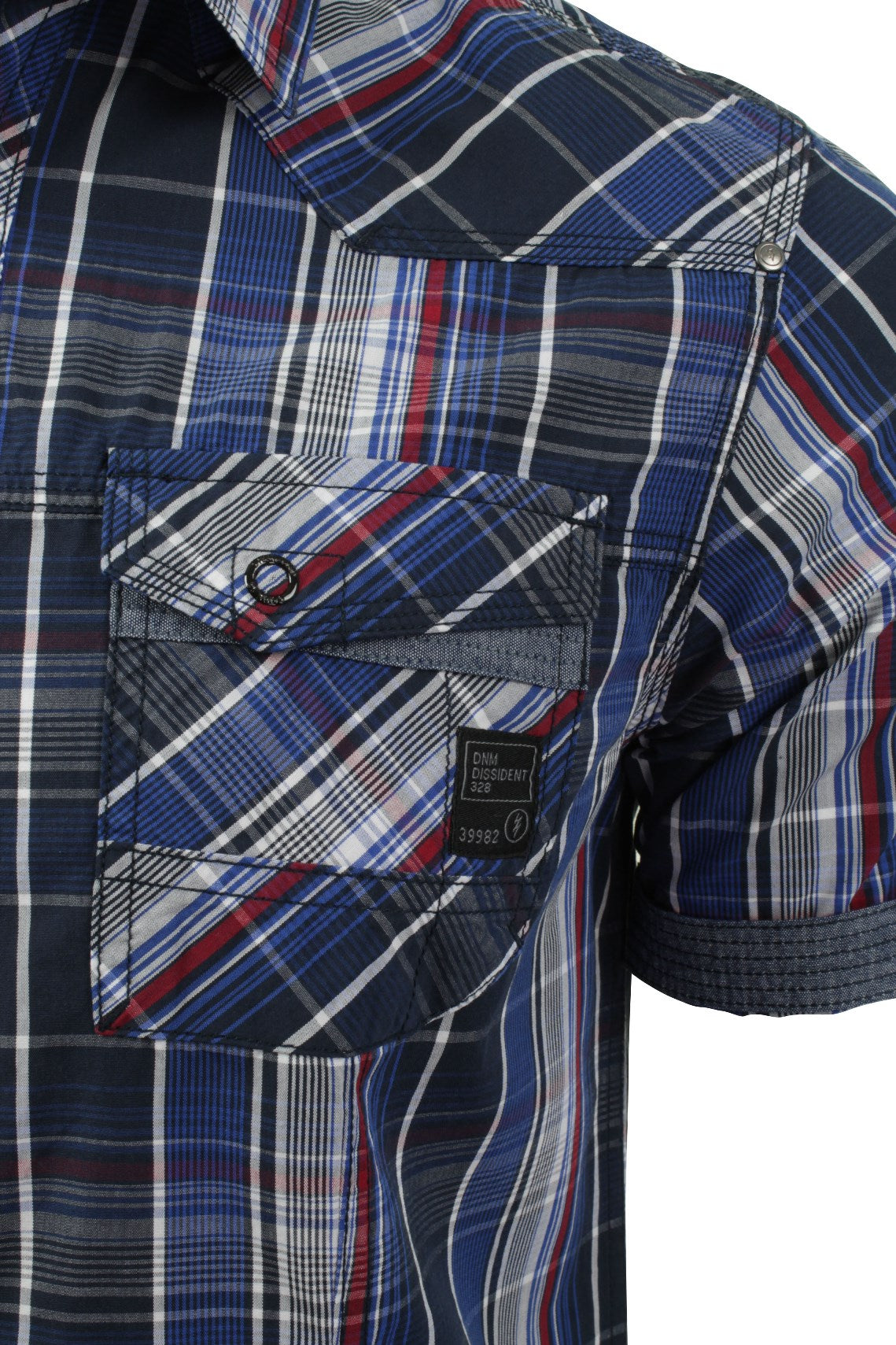 Mens Check Shirt by Dissident 'Valencia' Short Sleeved-2