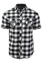 Mens Buffalo Check Shirt by Dissident 'Pedroza' Short Sleeved, 01, 1H8939, #colour_Optic White