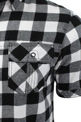 Mens Buffalo Check Shirt by Dissident 'Pedroza' Short Sleeved, 02, 1H8939, #colour_Optic White