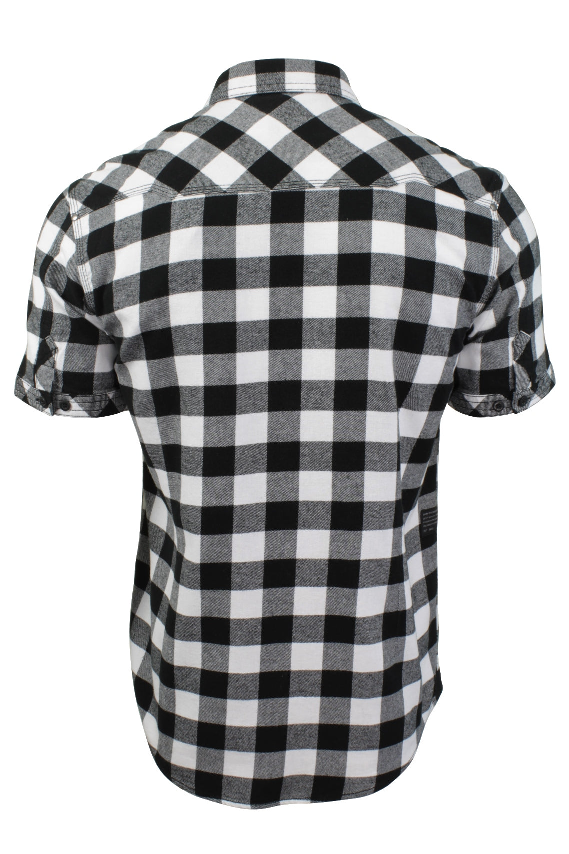 Mens Buffalo Check Shirt by Dissident 'Pedroza' Short Sleeved, 03, 1H8939, #colour_Optic White