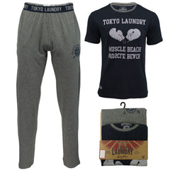 Mens Pyjamas Bottoms/ Top Nightwear Set by Tokyo Laundry 'Cohen'-Main Image