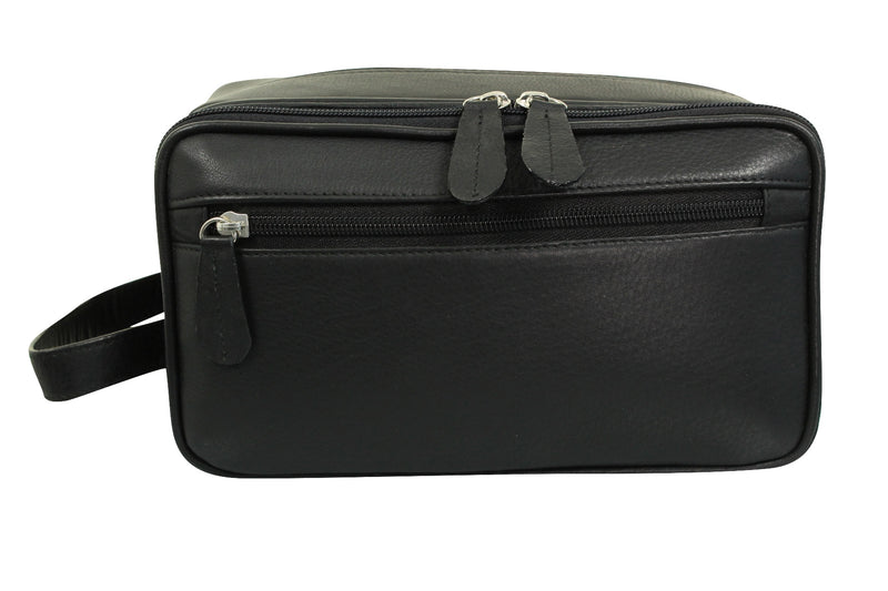 Real Leather Toiletry Wash Bag by Xact Clothing (Black), 01, 20021, #colour_Black