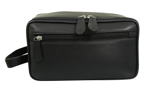 Real Leather Toiletry Wash Bag by Xact Clothing (Black)-Main Image