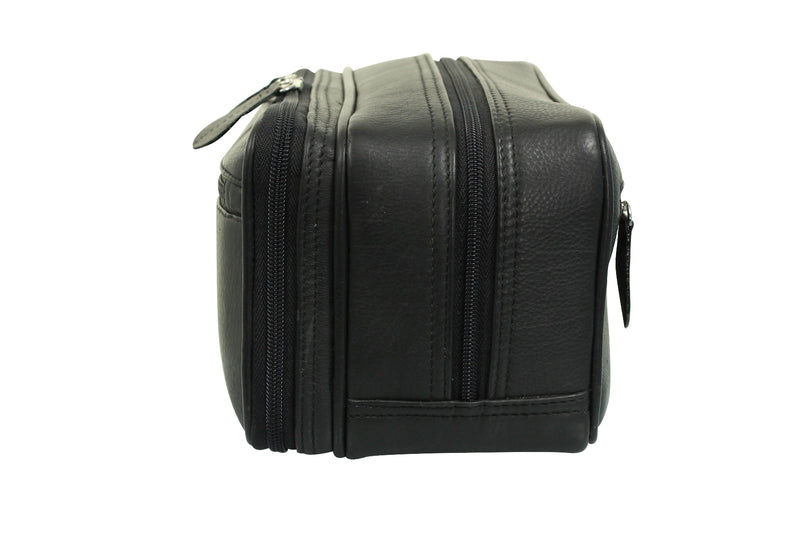 Real Leather Toiletry Wash Bag by Xact Clothing (Black), 02, 20021, #colour_Black