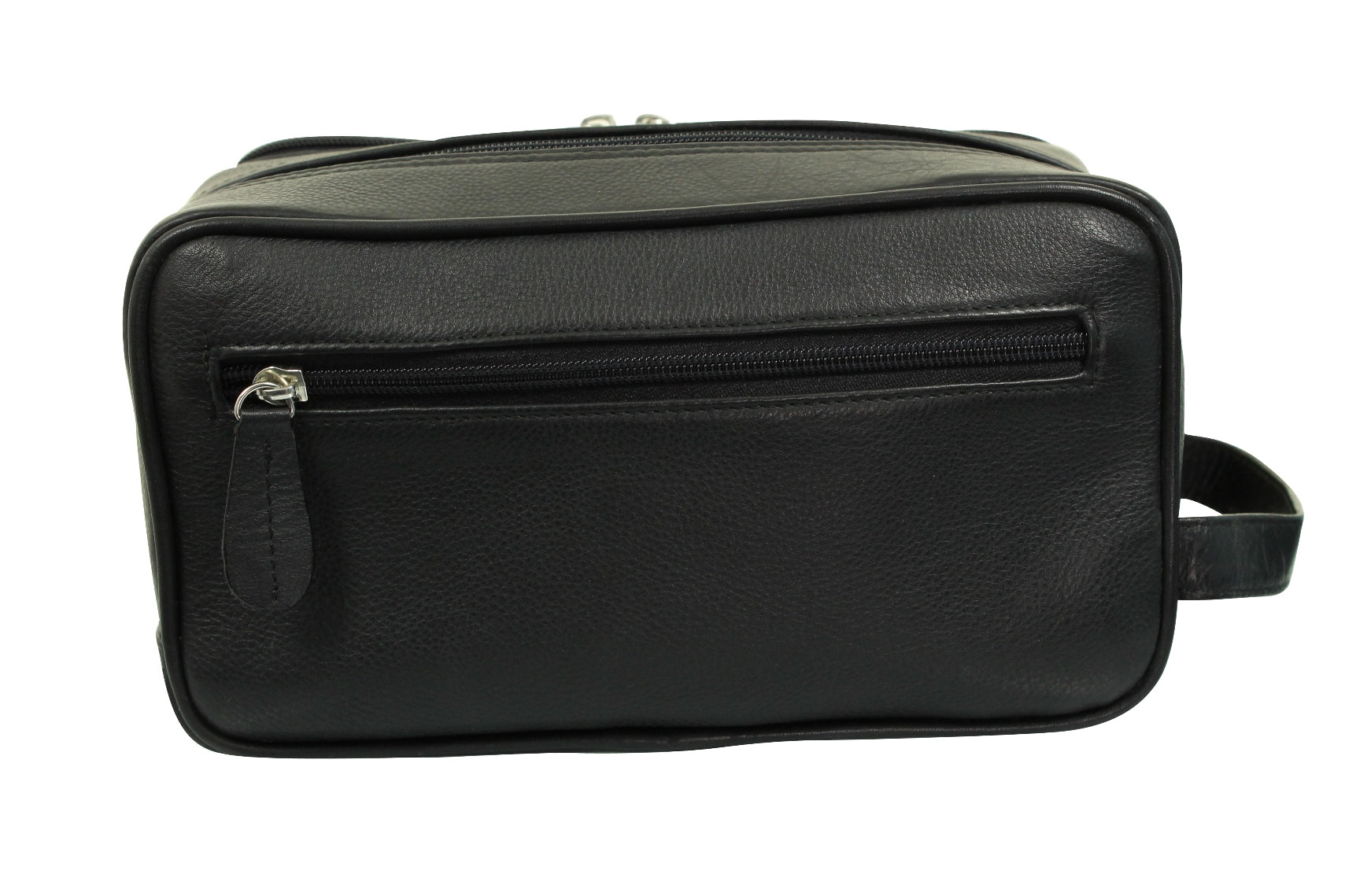 Real Leather Toiletry Wash Bag by Xact Clothing (Black)-3