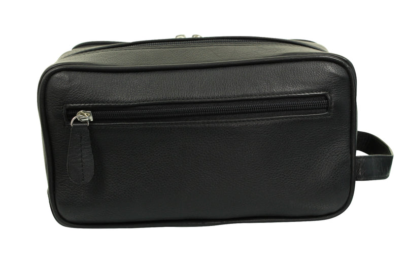 Real Leather Toiletry Wash Bag by Xact Clothing (Black), 03, 20021, #colour_Black