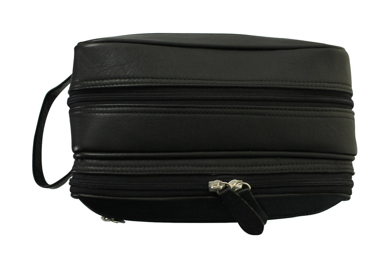 Real Leather Toiletry Wash Bag by Xact Clothing (Black), 05, 20021, #colour_Black
