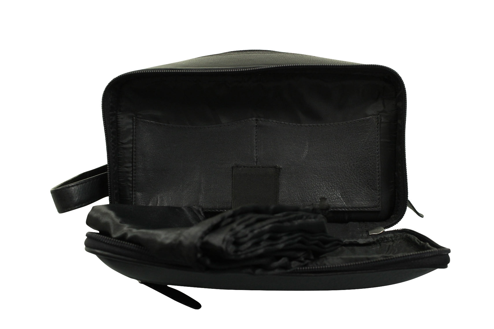 Real Leather Toiletry Wash Bag by Xact Clothing (Black)_07_20021_Black
