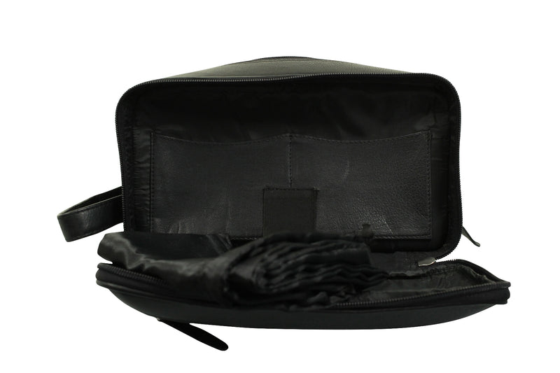 Real Leather Toiletry Wash Bag by Xact Clothing (Black), 07, 20021, #colour_Black