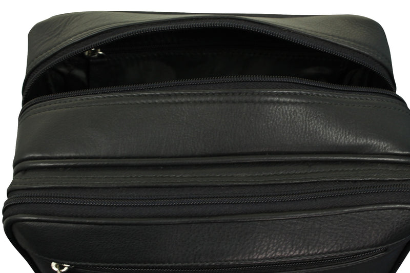 Real Leather Toiletry Wash Bag by Xact Clothing (Black), 08, 20021, #colour_Black