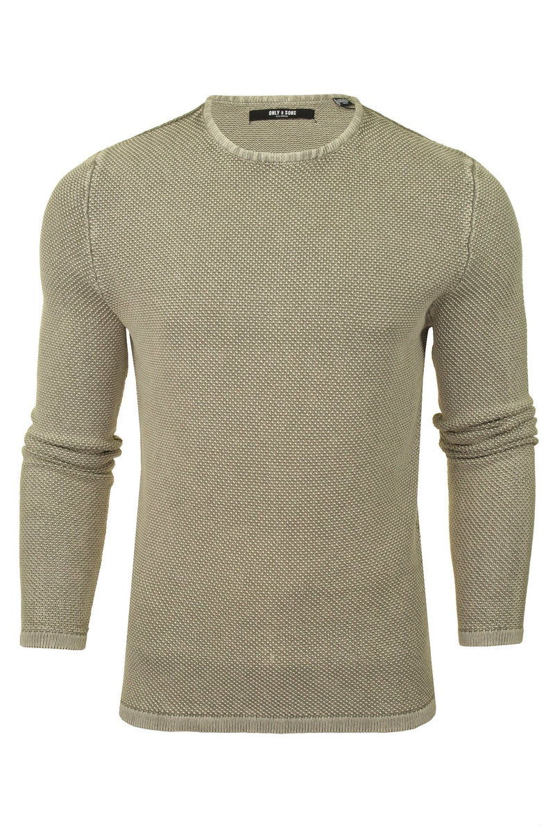 Only & Sons Mens Crew Neck Knit Jumper 'ONSHUGH', 01, 22007422, #colour_Griffin