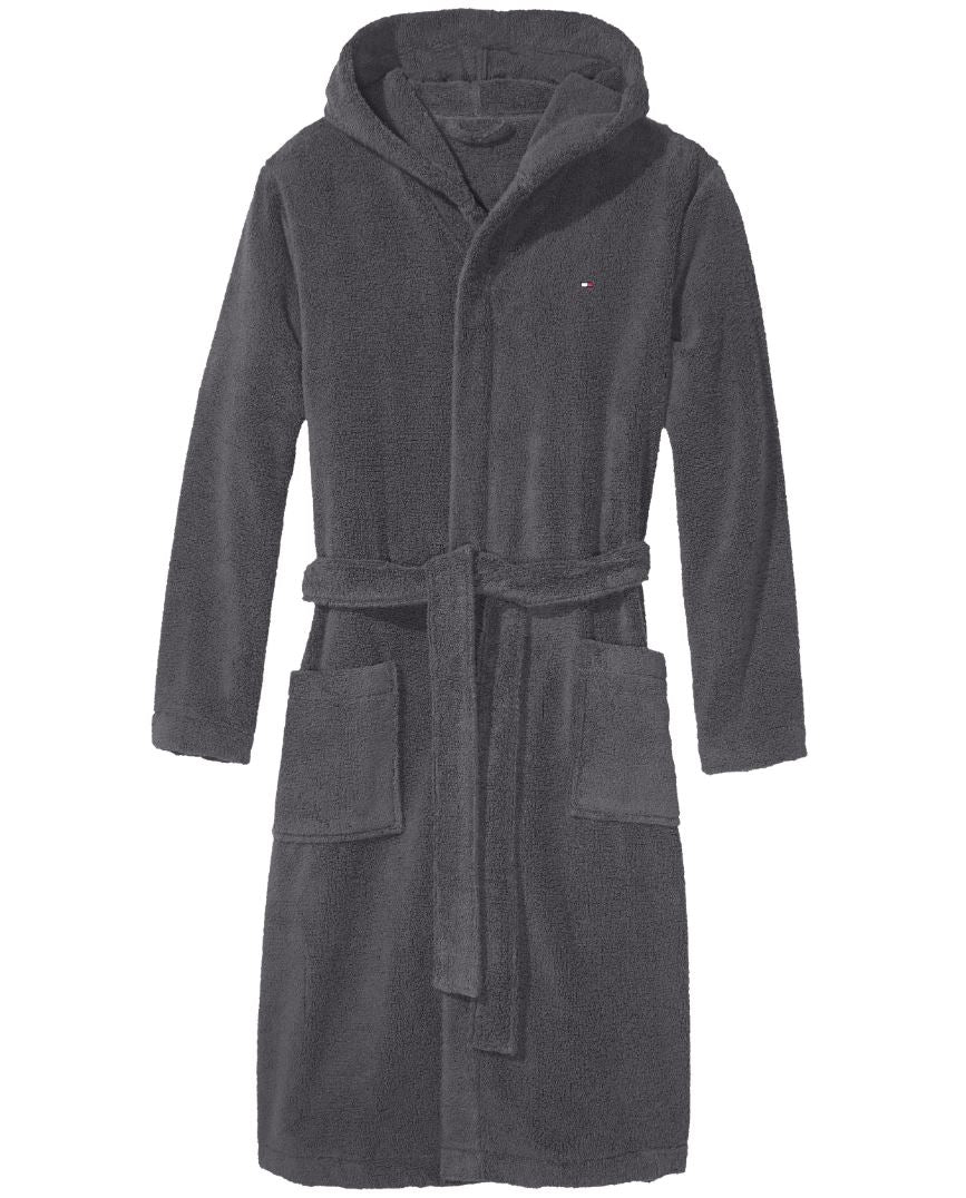 Mens Tommy Hilfiger Icon Hooded Bathrobe/ Dressing Gown - Micro ...