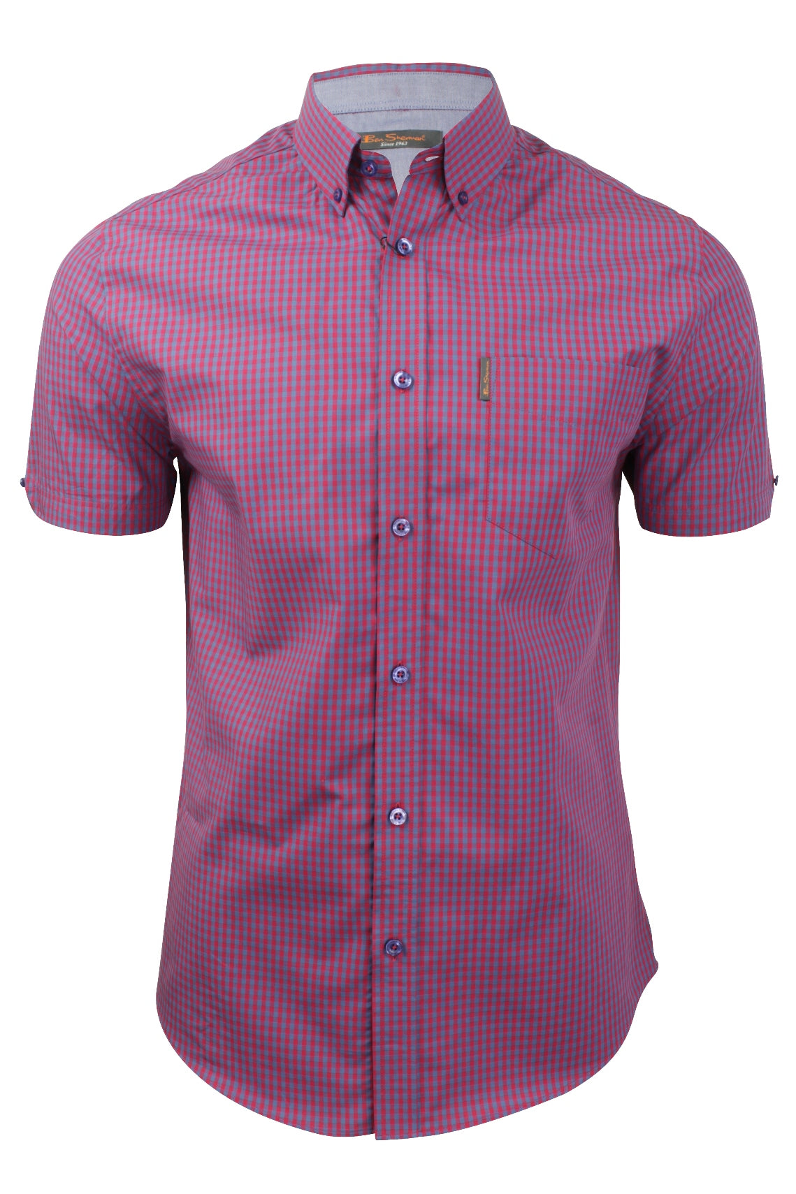 Mens Gingham Check Shirt by Ben Sherman Short Sleeved-Main Image