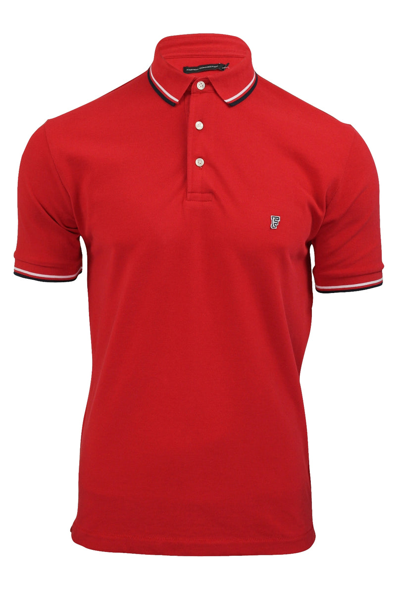 Mens Pique Polo T-Shirt by FCUK/French Connection 'F' Logo Twin Tipped, 01, 56Szb, #colour_Poster Red