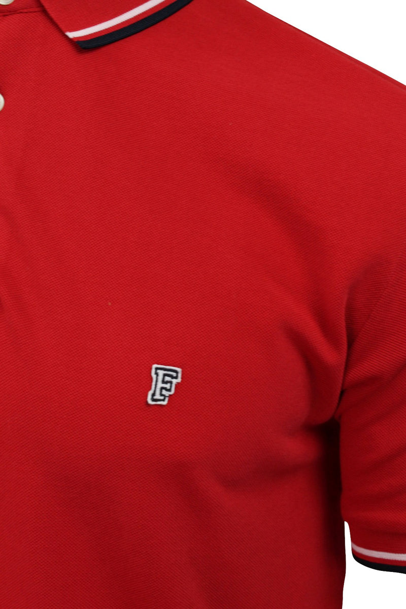 Mens Pique Polo T-Shirt by FCUK/French Connection 'F' Logo Twin Tipped, 02, 56Szb, #colour_Poster Red