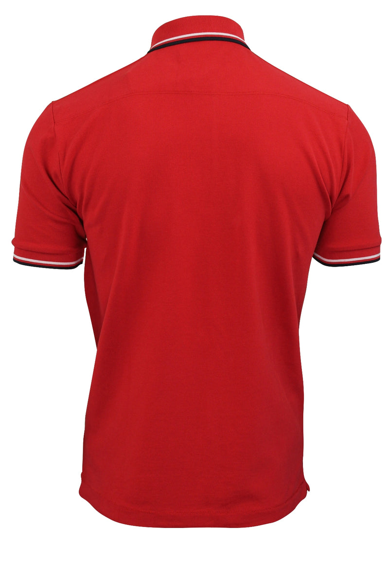 Mens Pique Polo T-Shirt by FCUK/French Connection 'F' Logo Twin Tipped, 03, 56Szb, #colour_Poster Red