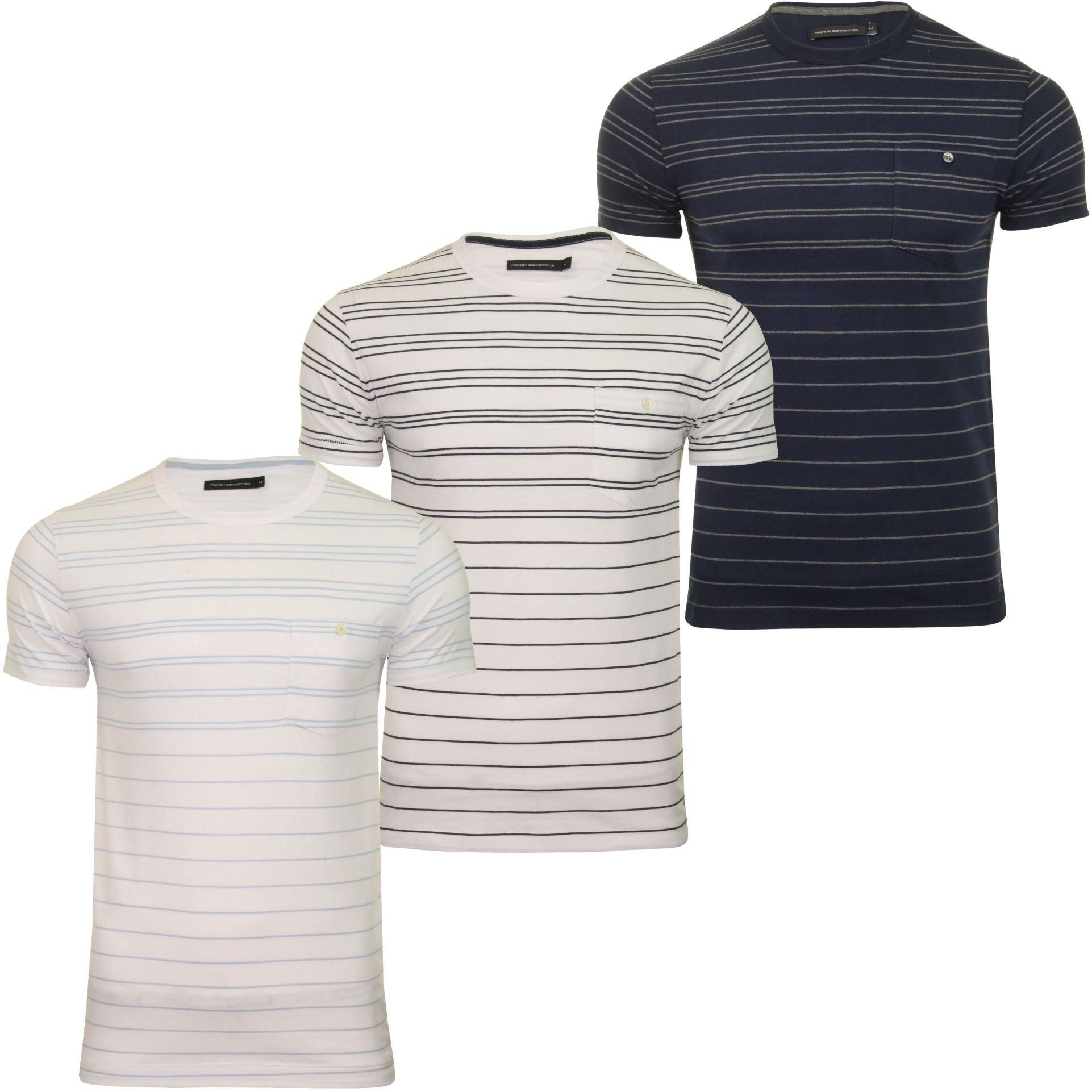 Mens T-Shirt by FCUK/French Connection Summer Graded Stripe-Main Image