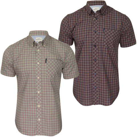Ben Sherman Mens Shirt 'Mini Gingham' - Short Sleeved-Main Image
