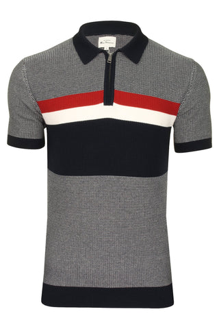 Ben Sherman Mens Knitted 1/4 Zip Polo T-Shirt-Main Image