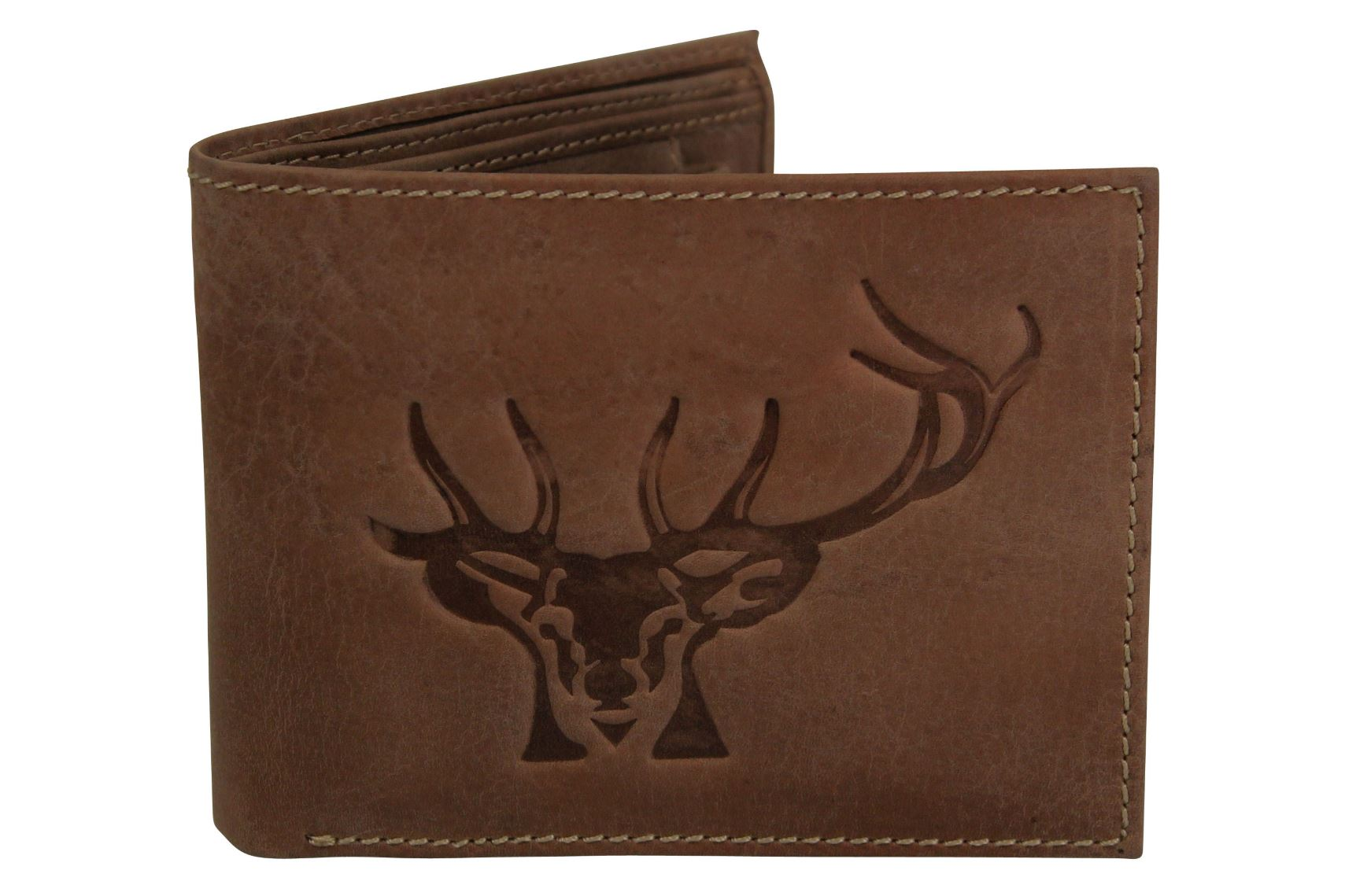 Mens Genuine Leather Wallet by Xact Clothing Embossed Stags Head-Main Image