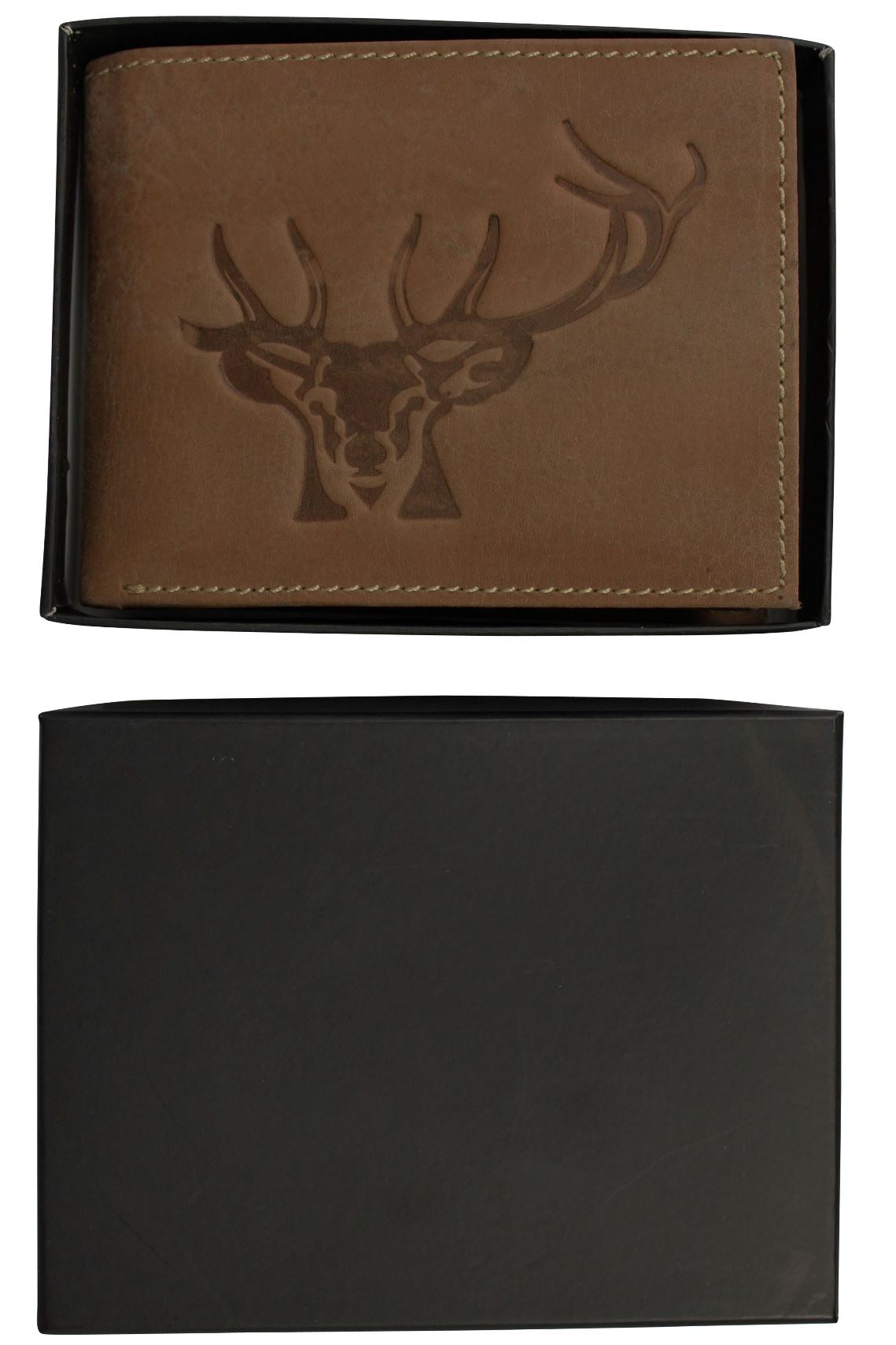 Mens Genuine Leather Wallet by Xact Clothing Embossed Stags Head-4